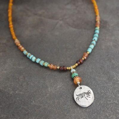 Beaded Deer Necklace