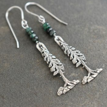 Silver Pine Tree Earrings with Emeralds