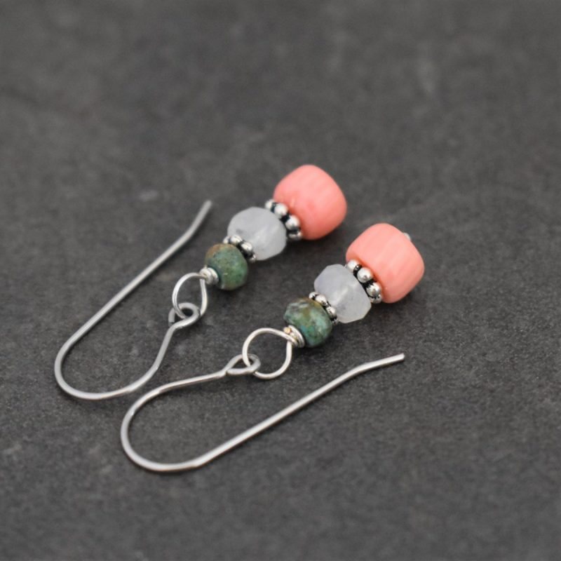 Dainty pink coral earrings gift for my mom