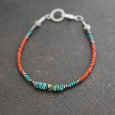 Delicate turquoise and coral bracelet