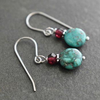 Garnet & Turquoise Coin Earrings