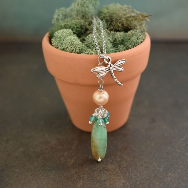 Dragonfly Necklace With peach and Mint stones and pearls