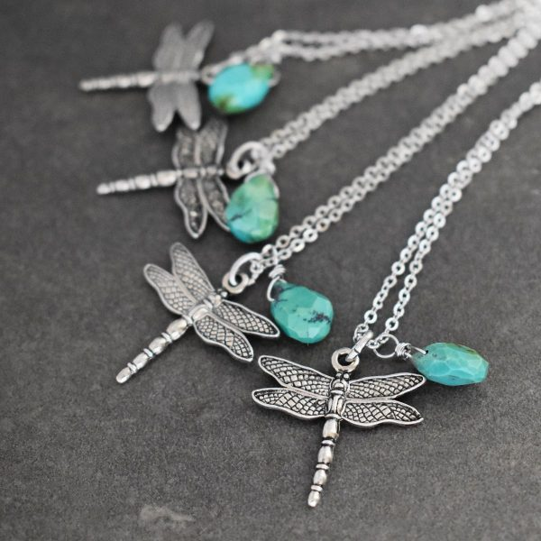 Dragonfly & Turquoise Drop Necklaces
