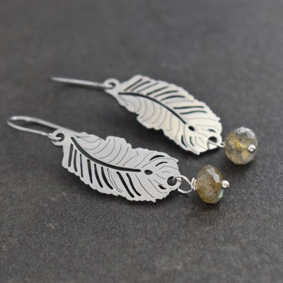Feather earrings with Labradorite