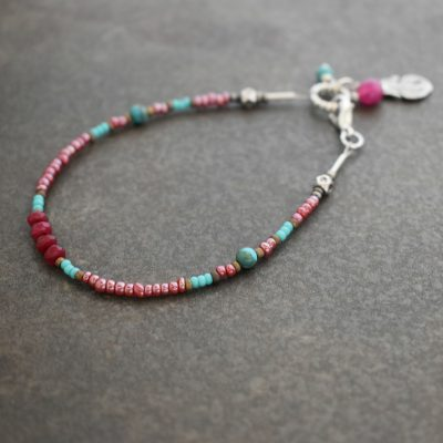 Feather seed bead ruby bracelet