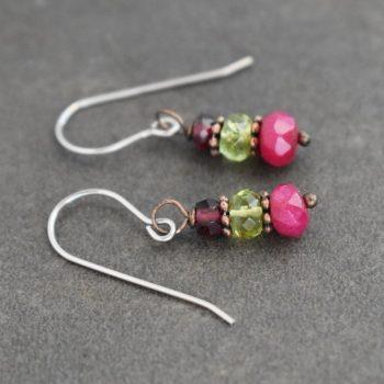 Garnet, Peridot and Ruby earrings