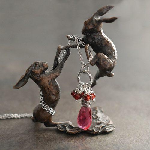 Garnet & Pink Quartz drop Necklace