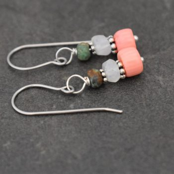 Turquoise, Moonstone, Pink Coral Earrings