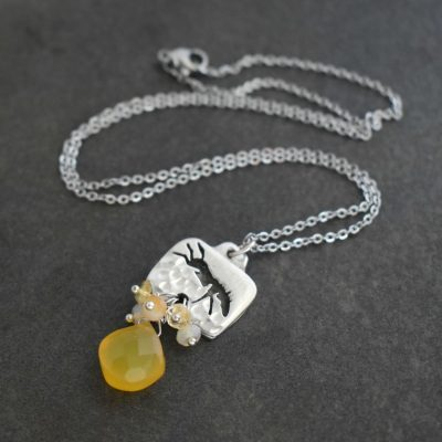 Horse with opal,citrine , chalcedony drop