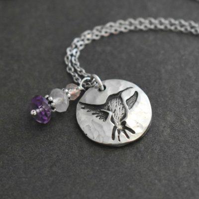 Humming bird with morganite, rose quartz and Amethyst gemstones
