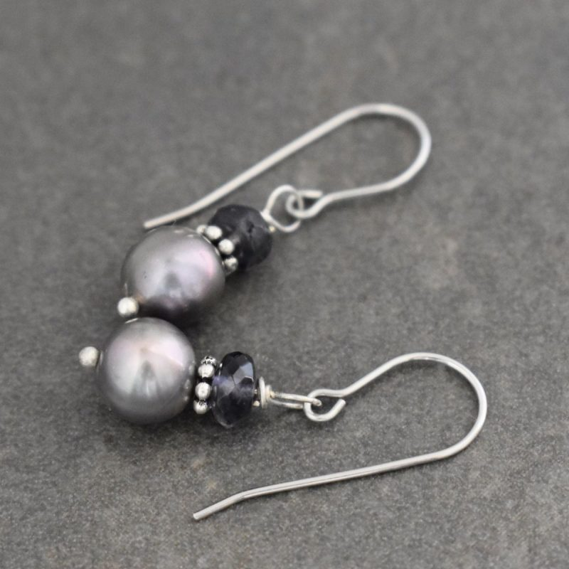 iolite and gray pearl earrings