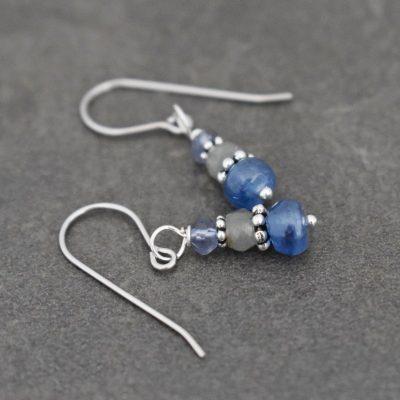 Iolite, moss aquamarine, kyanite earrings