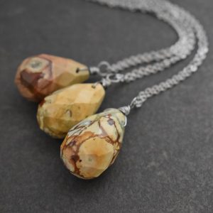 Picture Jasper Drop Necklace in yellow butterscotch