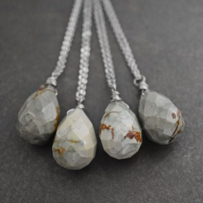 Picture Jasper Drop Necklace in gray