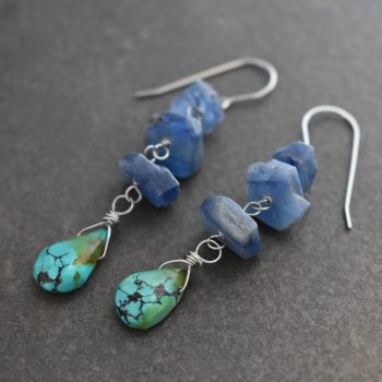 Long Blue kyanite and turquoise drop earrings
