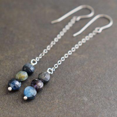 Long danity blue Kyanite Earrings