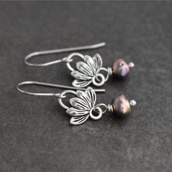Lotus and Pearl earrings