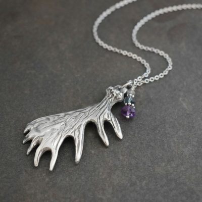 Moose antler with amethyst