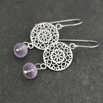 Scandinavian Flower and Gemstone Earrings