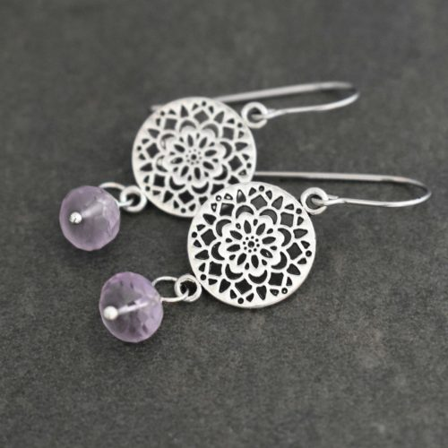 Scandinavian Flower and Gemstone Earrings