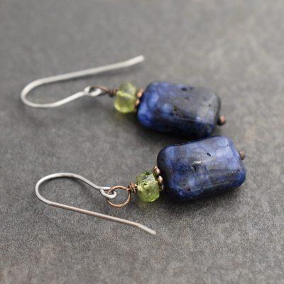 Peridot and Lapis Gemstone Earrings (3)