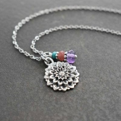 Pewter Dahlia charm Necklace