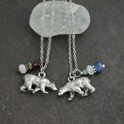 Pewter polar bear necklaces with Gemstones