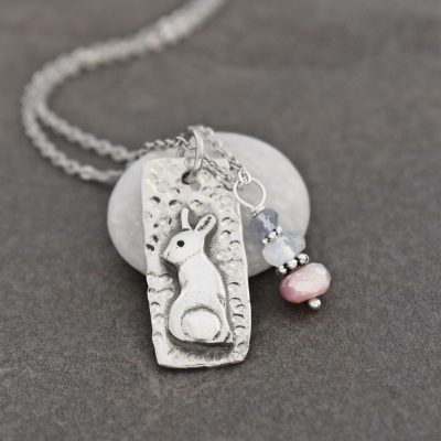 Cottontail Rabbit Necklace with moonstone