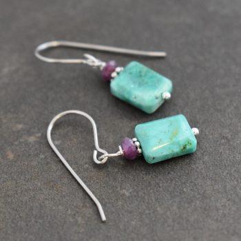Ruby & Turquoise Earrings