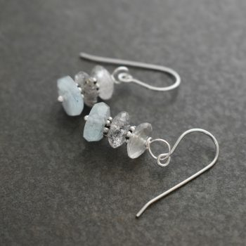 Rutilated Quartz and aquamarine earrings