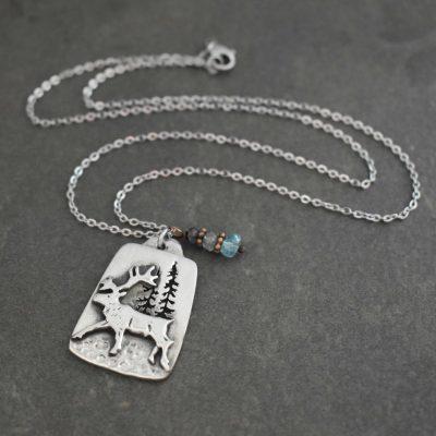 Silver Caribou necklace