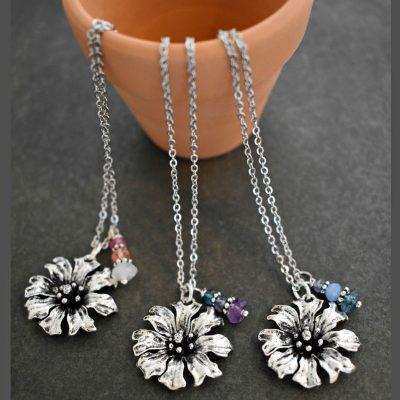 Silver Cornflowers and gemstones