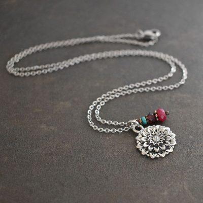 Silver Dahlia flower pendant