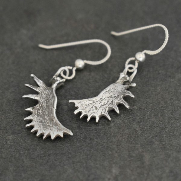 Silver Moose antler earrings, moose lover gift