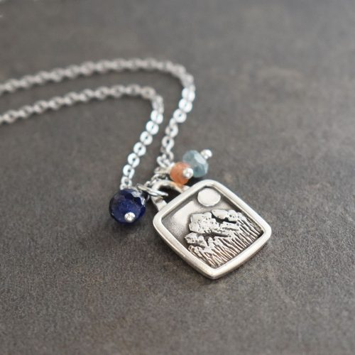 Silver Mountain Pendant with sapphires, aquamarine