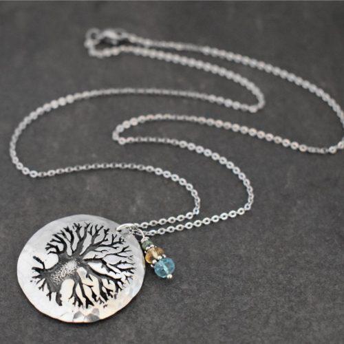 Silver Oak tree necklace(12)72