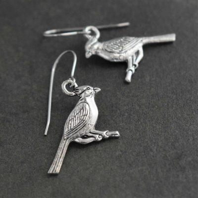 Silver Red Cardinal earrings