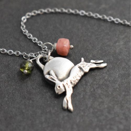 jumping hare necklace