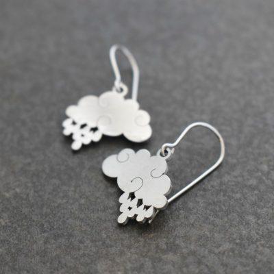 Silver rain clouds earrings