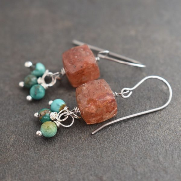 Simple Strawberry quartz and turquoise earrings