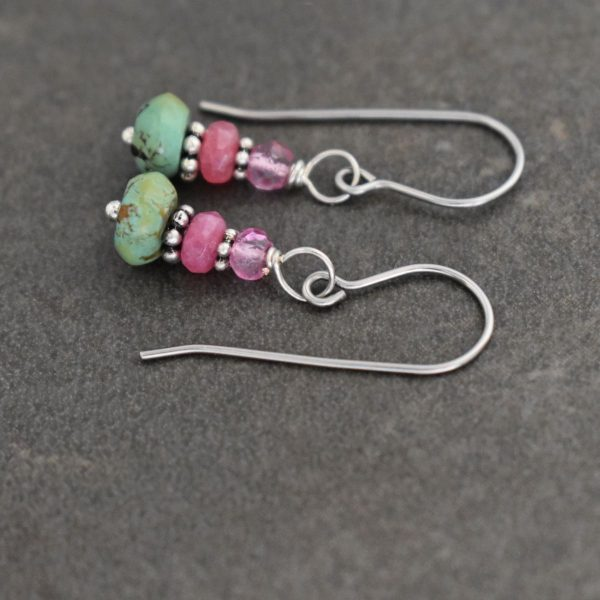 Simple pink and green Turquoise earrings