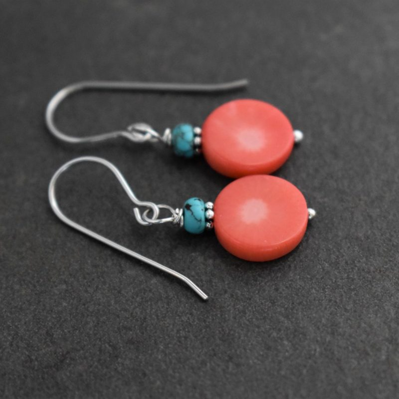 Turquoise & Pink Coral Coin Earrings
