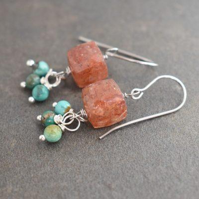 Strawberry Quartz & Turquoise Earrings
