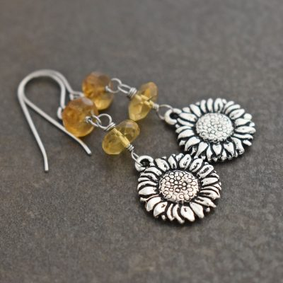 Sunflowers with Citrine Earrings (1)