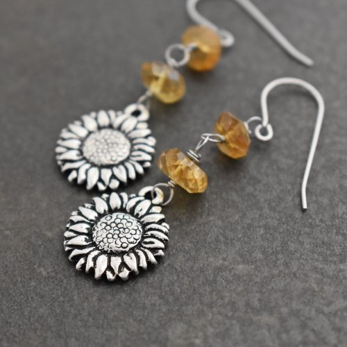 Sunflowers with Citrine Earrings (2)