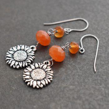 Sunflowers with carnelian earrings (1)