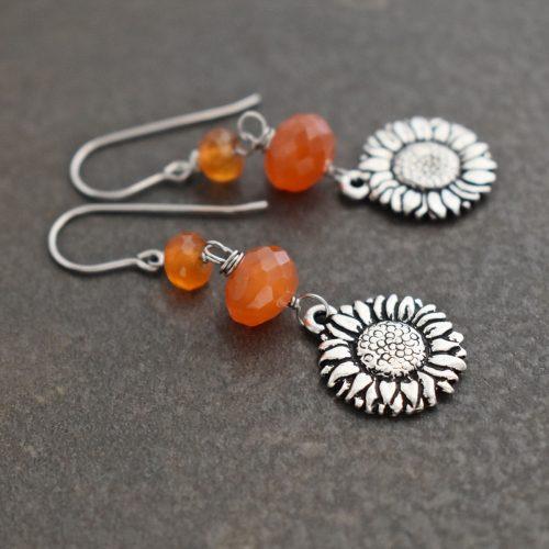 Sunflowers with carnelian earrings (2)