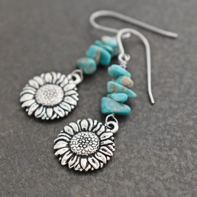 Sunflowers with turquoise earrings (2)