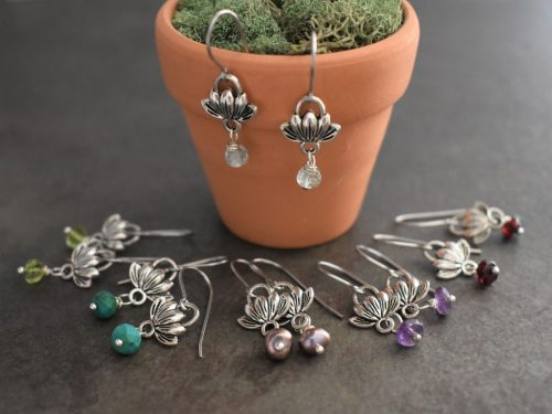 Tiny Lotus earrings your choice of gemstones