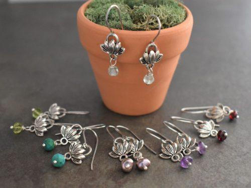 Tiny Lotus and Gemstone earrings